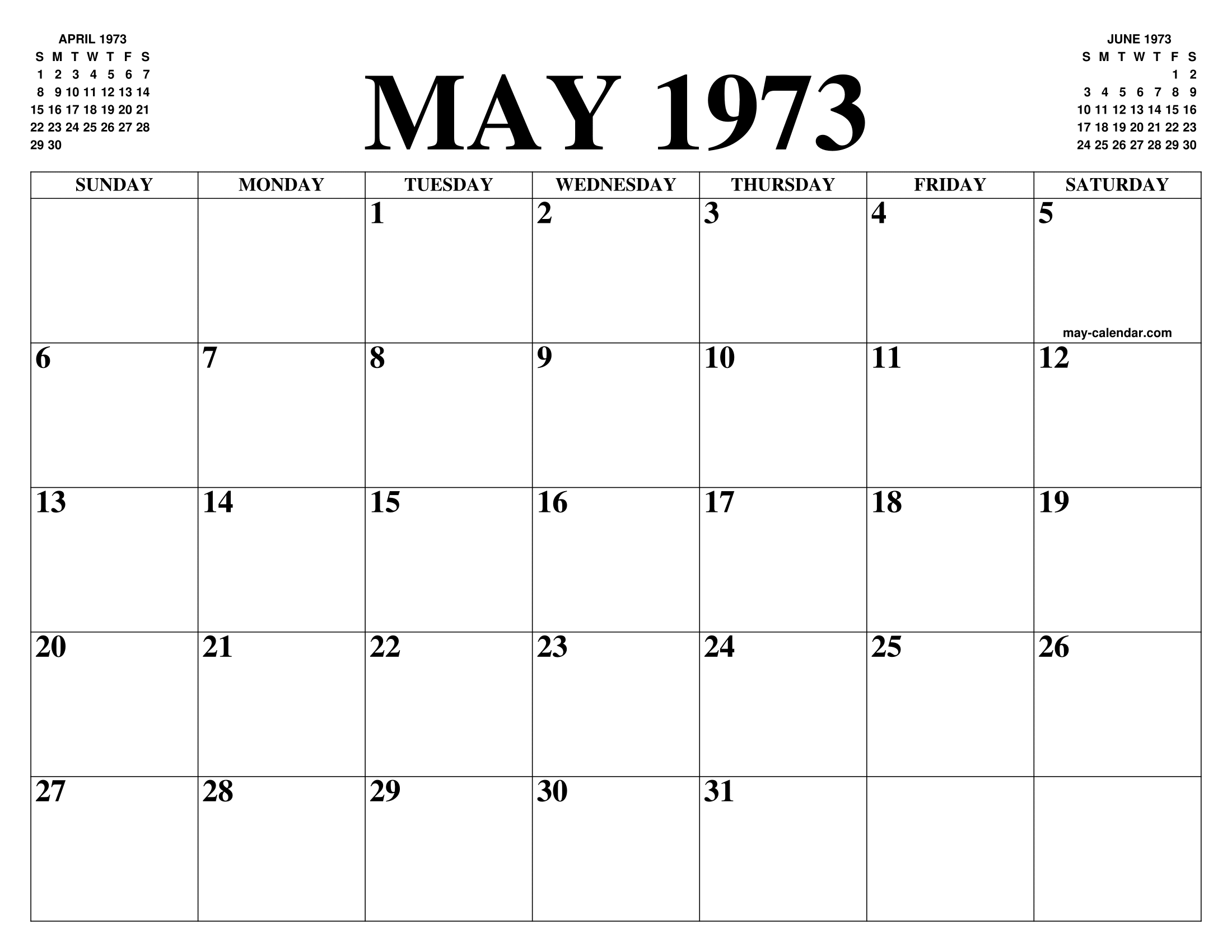 Calendario 1973.May 1973 Calendar Of The Month Free Printable May Calendar