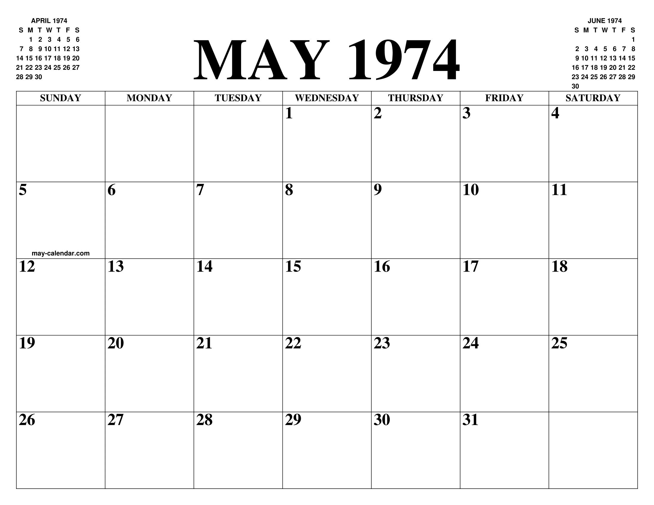 Calendario 1974.May 1974 Calendar Of The Month Free Printable May Calendar