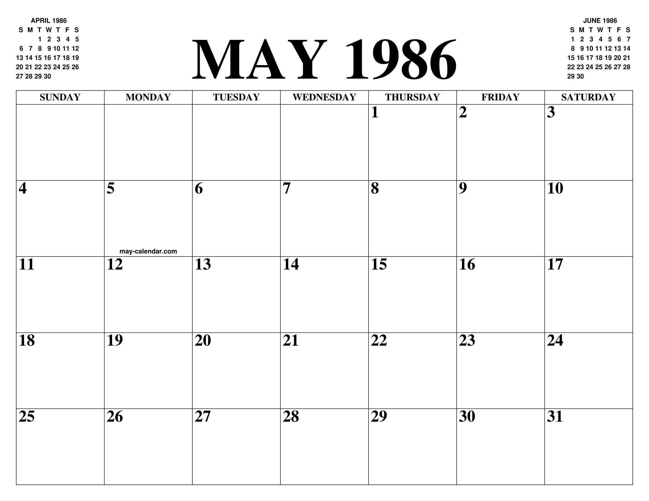 kalender 1986