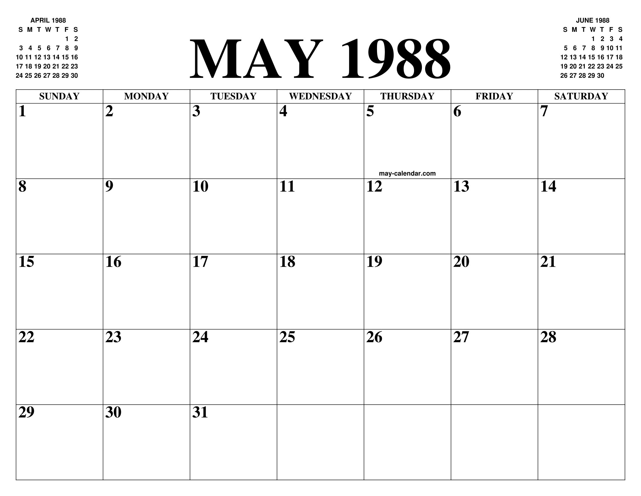 May 1988 Calendar Of The Month Free Printable May Calendar Of The