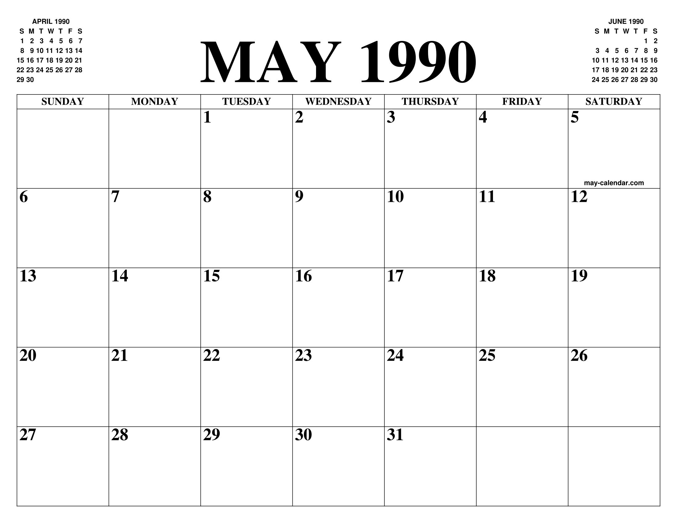 1990 Calendar.May 1990 Calendar Of The Month Free Printable May Calendar Of The