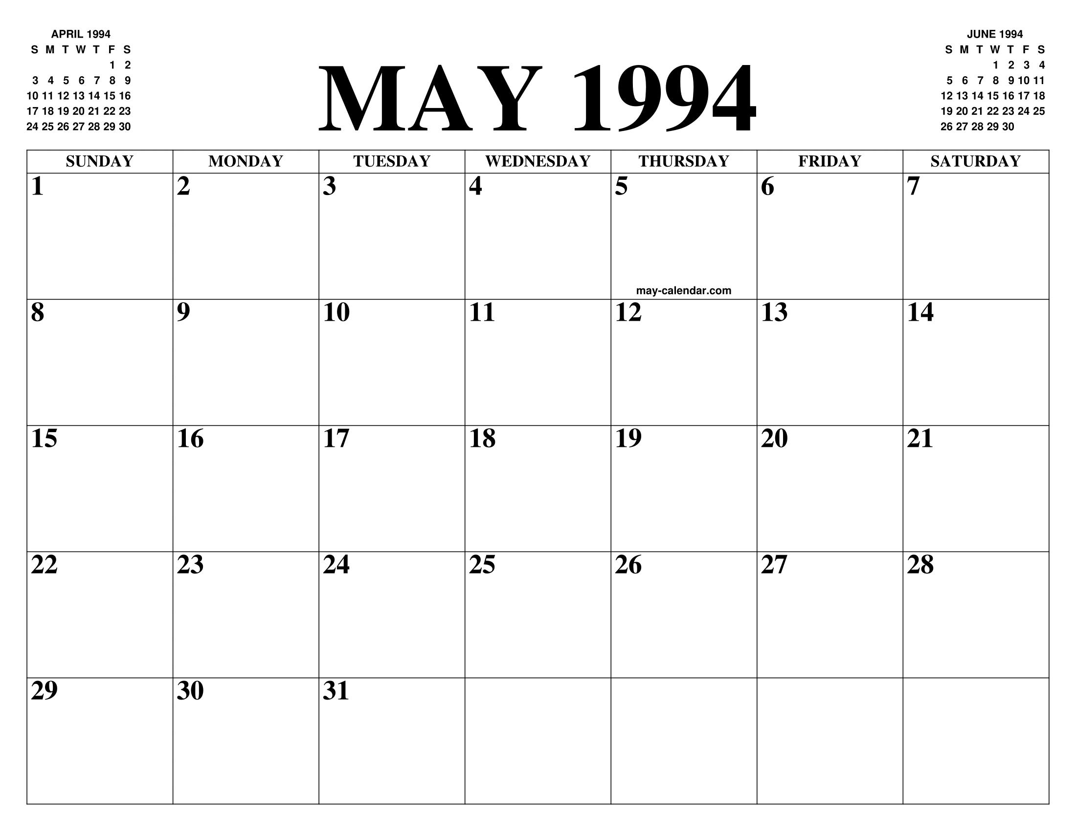 May 1994 Calendar Of The Month Free Printable May Calendar Of The