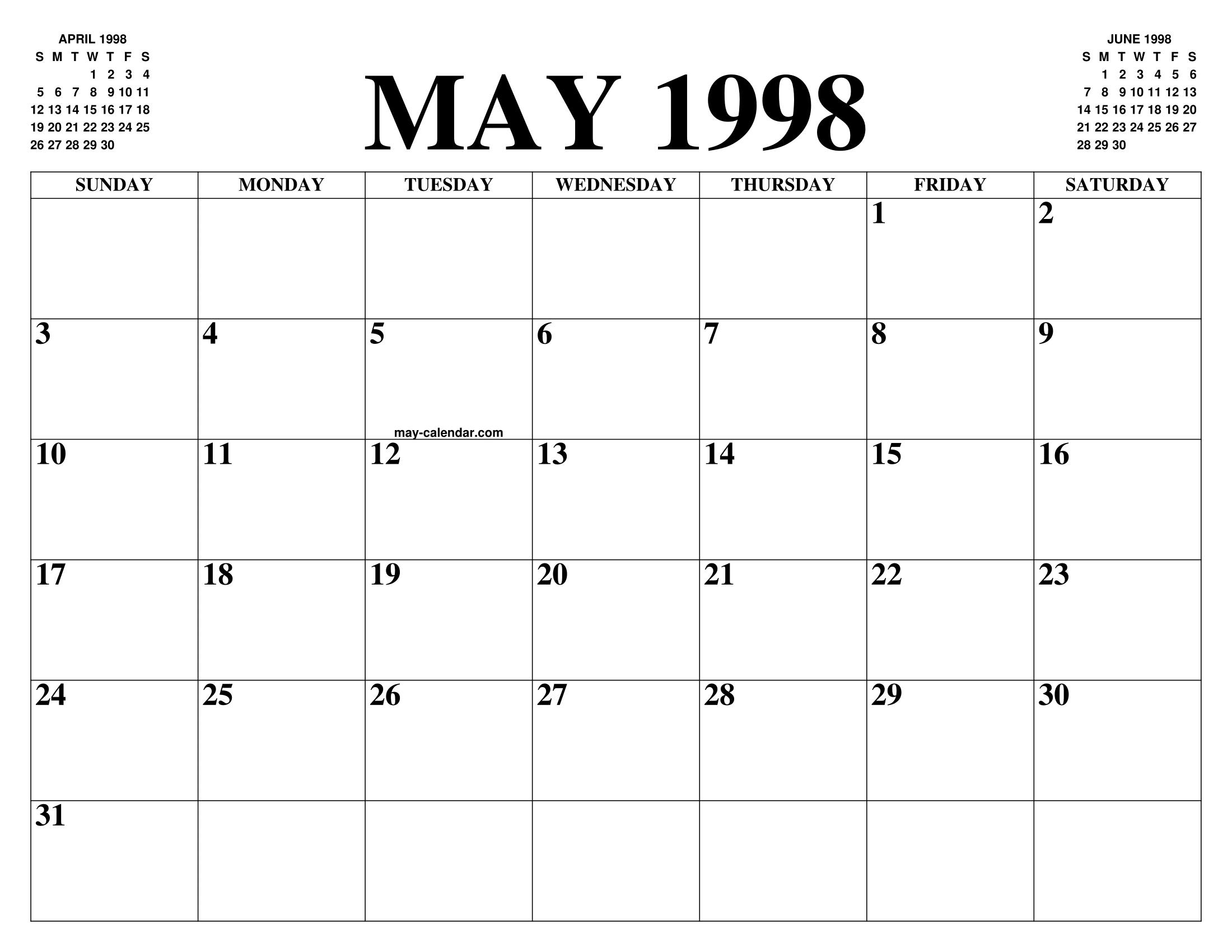 1998 Calendario.May 1998 Calendar Of The Month Free Printable May Calendar