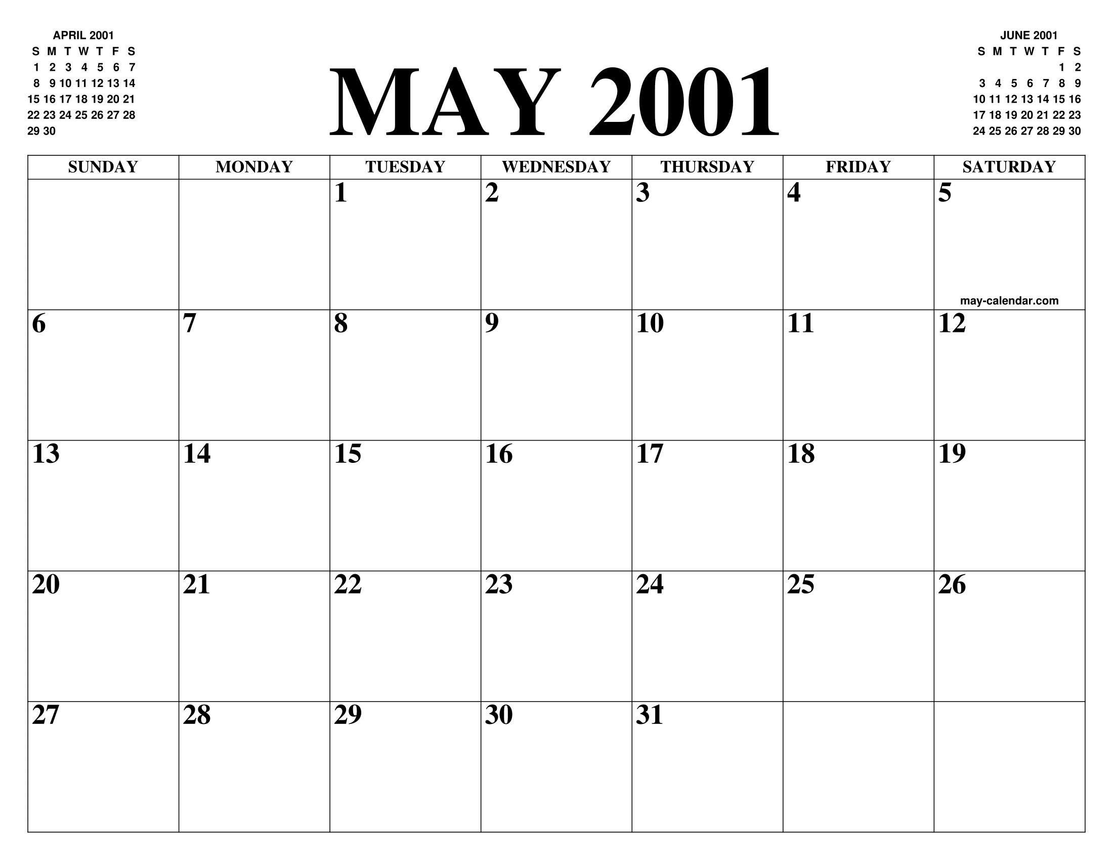 MAY 2001 CALENDAR OF THE MONTH: FREE PRINTABLE MAY CALENDAR