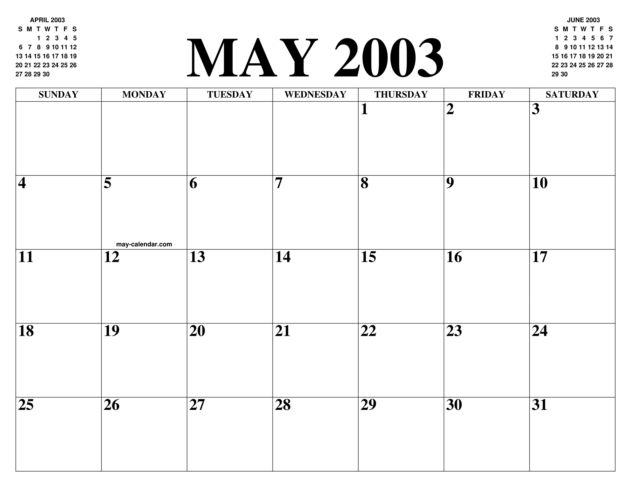 May 2003 Calendar Of The Month Free Printable May Calendar Of The