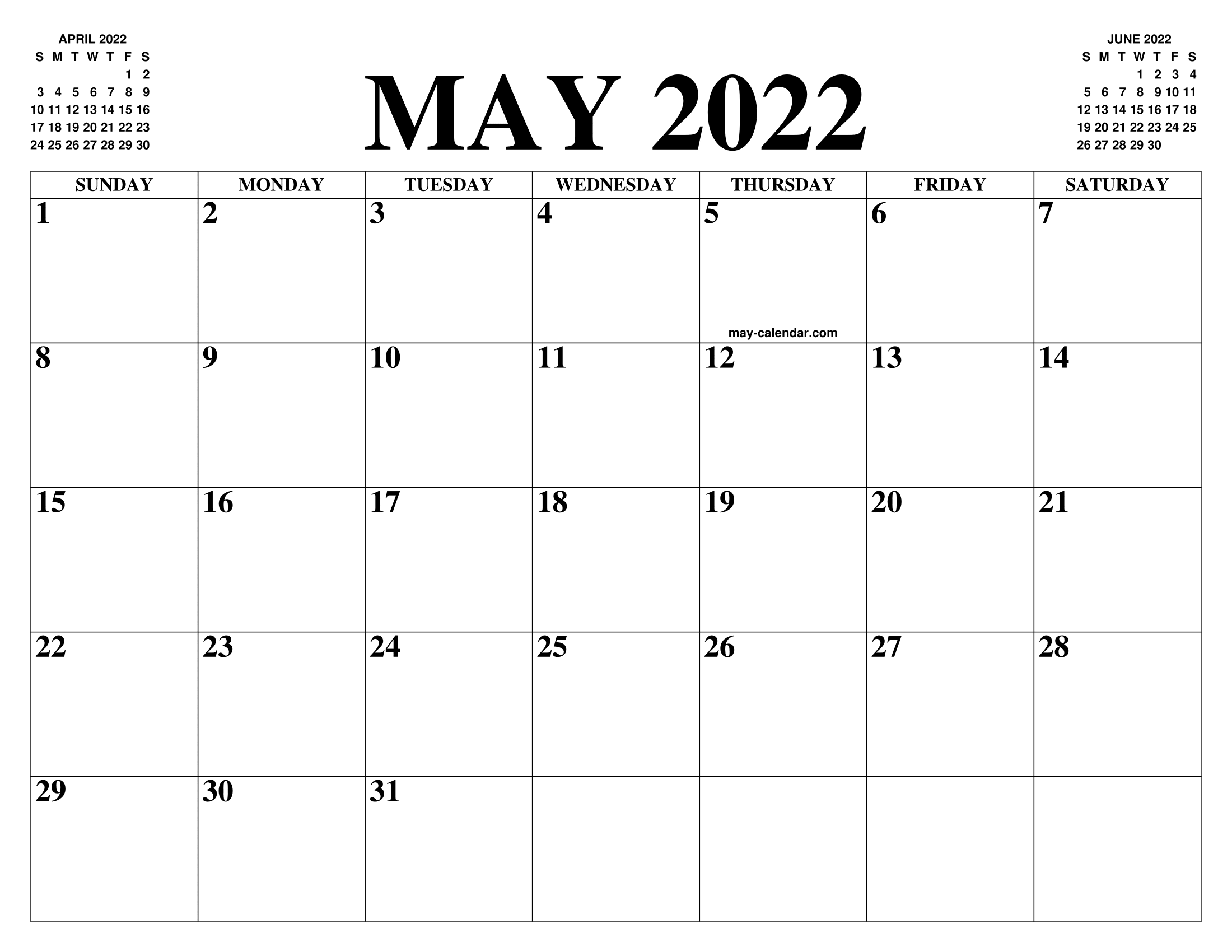 2022 May Calendar.May 2022 Calendar Of The Month Free Printable May Calendar Of The Year Agenda